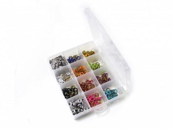 Bild von Jersey Druckknöpfe Set mit 150 Druckknöpfen in 10 Farben